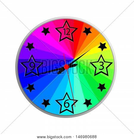 color wall clock on a white background
