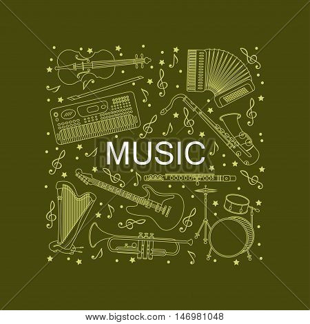 Vector card with different music instruments synthesizer, drums, accordion, violin, trumpet, harp, drum, saxophone, electric, guitar, flute. Place for your text.