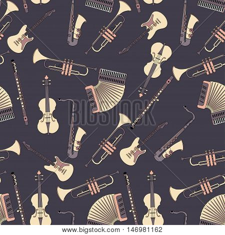 Seamless pattern with different music instruments synthesizer, drums, accordion, violin, trumpet, harp, drum, saxophone, electric guitar, flute, piano. Vector
