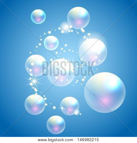 Vector soap bubbles blue background. Transparent bubbles for advert and washing powder package design.