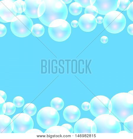 Vector soap bubbles blue banner background with space for text. Transparent bubbles for banner and washing powder package design.
