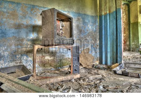 broken TV in the old abandoned room