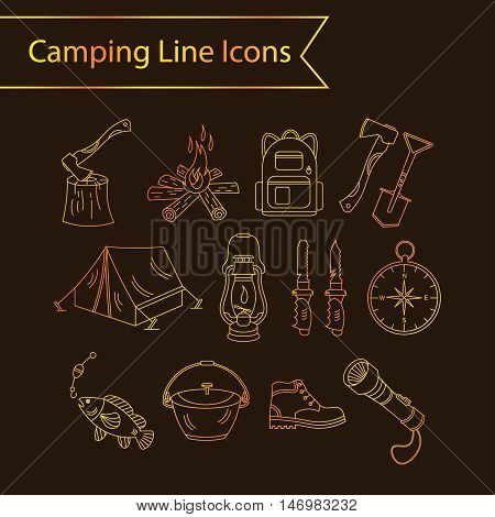 Camping holiday vector line icons. Golden liner vector icons - wood, fire, kerosene lamp, lantern, tent, knife, backpack, fishing, compass, shoes.