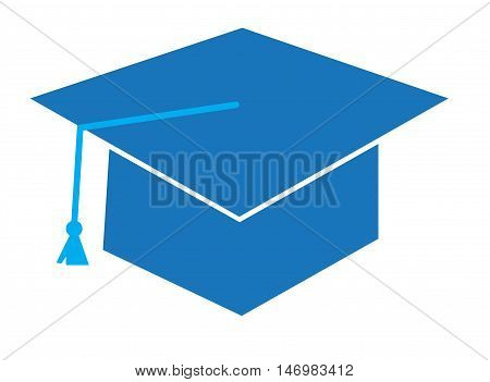 Isolated Blue Graduation Cap Hat and Tassle