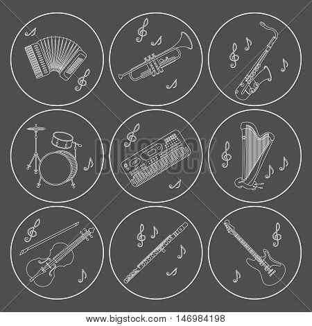 Vector thin line icons with different music instruments synthesizer, drums, accordion, violin, trumpet, harp, drum, saxophone, electric, guitar, flute.