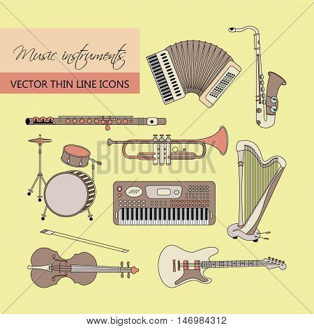 Vector thin line icons with different music instruments synthesizer, drums, accordion, violin, trumpet, harp, drum, saxophone, electric guitar, flute, piano.