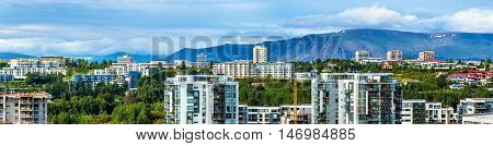 Panorama of residential districts in Reykjavik - Iceland