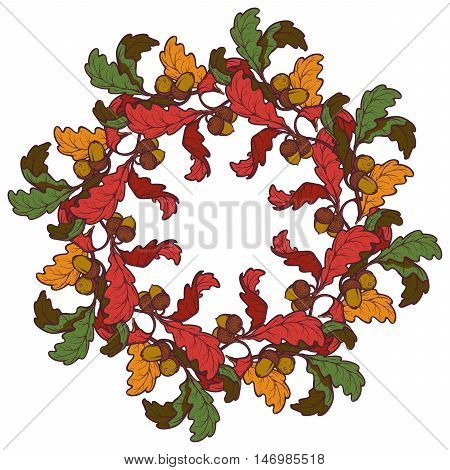 Fall Festival oak branch wreath. Circular ornament. Design element for Greeting card, flyer or poster. Intricate hand drawing isolated on square white background. EPS10 vector illustration.