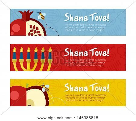 Banner for Jewish new year holiday. Rosh Hashanah. Template for postcard or invitation card. Happy Jewish New Year