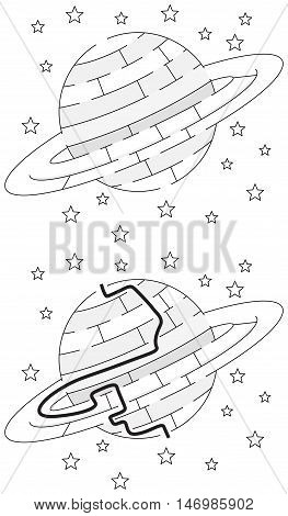 Easy Saturn maze for younger kids with a solution in black and white