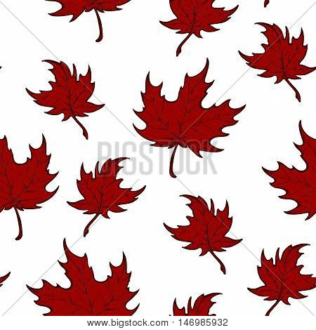 Autumn red maple leaves. Detailed intricate hand drawing. Isolated on white background. Chaotic distribution of elements. Seampless pattern. EPS10 vector illustration.