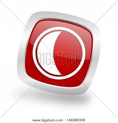 moon square glossy red chrome silver metallic web icon