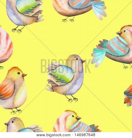 Seamless pattern of the watercolor birds, hand drawn on a yellow background