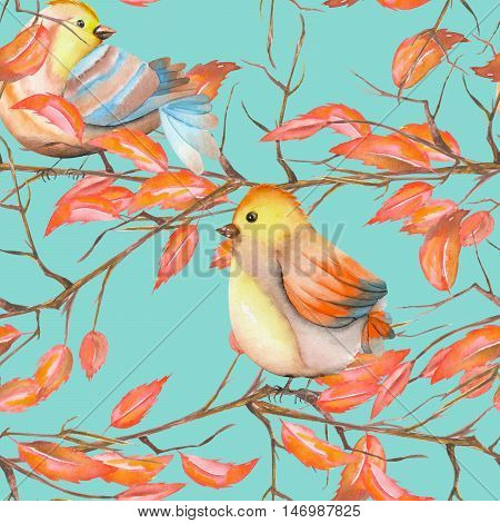 Seamless pattern of the watercolor birds on the tree branches with red leaves, hand drawn on a blue background