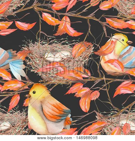 Seamless pattern of the watercolor birds and nests on the tree branches with red leaves, hand drawn on a dark background