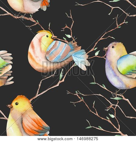 Seamless pattern of the watercolor birds on the tree branches, hand drawn on a dark background