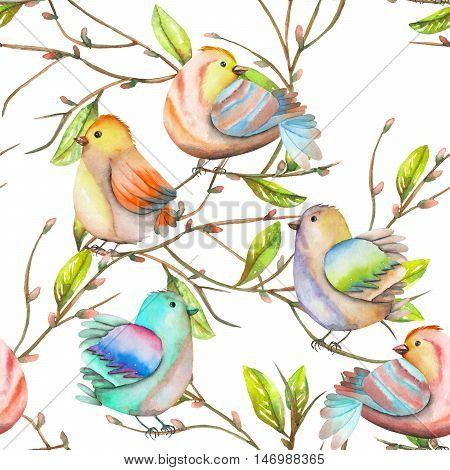 Seamless pattern of the watercolor birds on the tree branches, hand drawn on a white background