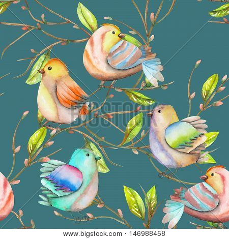Seamless pattern of the watercolor birds on the tree branches, hand drawn on a dark blue background