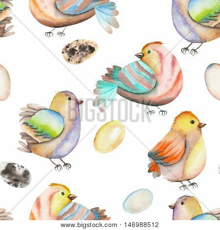 Seamless pattern of the watercolor birds and eggs, hand drawn isolated on a white background