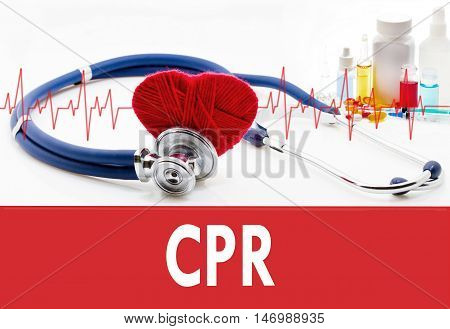 Medical concept CPR (cardiopulmonary resuscitation). Stethoscope and red heart on a white background