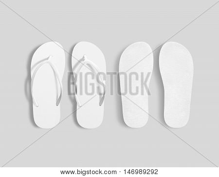 Pair of blank white beach slippers mockup top and sole view 3d illustration. Home plain flops mock up template. Clear bath sandal display. Bed shoes accessory footwear. Rubber flipflops bottom view