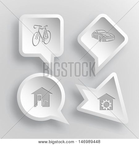 4 images: bicycle, car, car fueling, repair shop. Transport set. Paper stickers. Vector illustration icons.