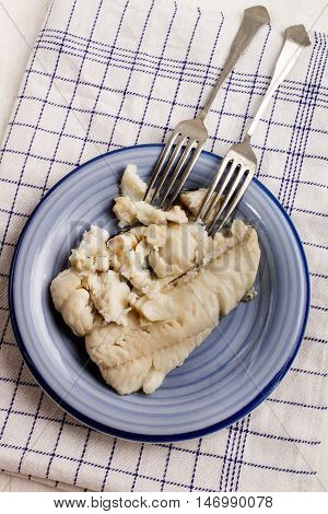 cooked haddock is divided with two forks in chunks
