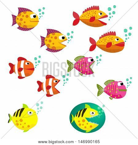Set of tropical fishes, vector illustration. Fishes with open and closed mouth with bubbles. Fish flat style vector illustration. Eps10. Isolated on a white background.