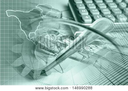 Financial background in greens with map calculator graph and pen.