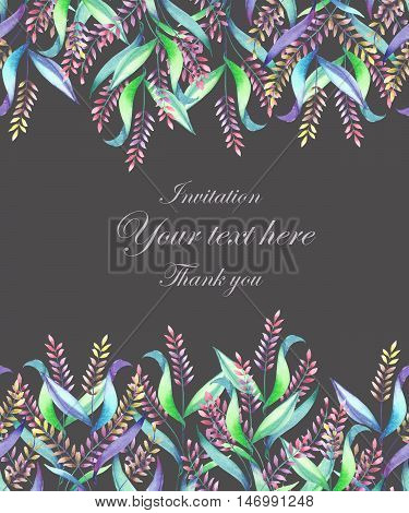 A template of a postcard, decorative place (banner) for a text with an floral ornament of the watercolor spikelets on a dark background, a greeting card, a decoration postcard or wedding invitation