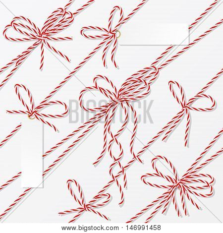 Set of red rope bakers twine bows, ribbons and tag labels on white background