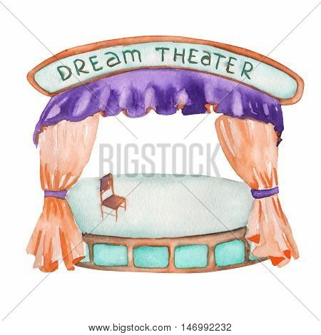 An illustration of a Theater stage (scene) painted in watercolor on a white background. Isolated circus, festival and amusement park element.