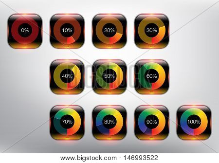 Loading spinners or progress loading bars in different loading state and percentage. Designed with realistic transparent glass shine and shadow on the white background. Vector illustration. Eps10.