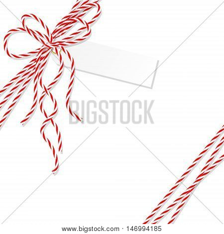 Abstract white background with tag label tied up with red rope bakers twine bow and ribbons