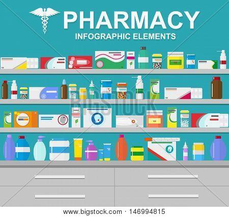 Pharmacy vector infographic elements. Pharmacy icons set.