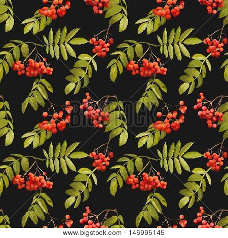 Autumn Rowan Berry Background - Vintage Seamless Pattern - for design, textile, print - in vector
