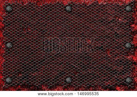grunge metal background. rivet on red metal plate and black grille. material design 3d illustration.