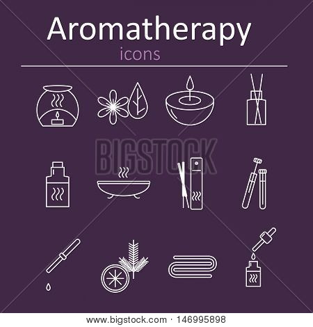Set of web icons for aromatherapy. Oil burner Aromatic sticks aroma oils candles and other accessories for aromatherapy. Vector illustration.