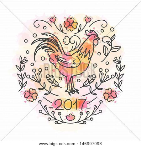 Hand Drawn Rooster. 2017 Chinese New Year of the Cock. Line style illustration on watercolor background. Poster with symbol of year. Vector greeting ecard.