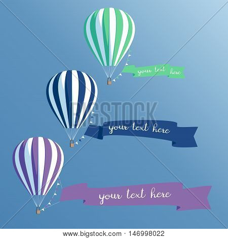 Hot air balloons set with banners colorful balloons with ribbons flying in the sky vector illustration