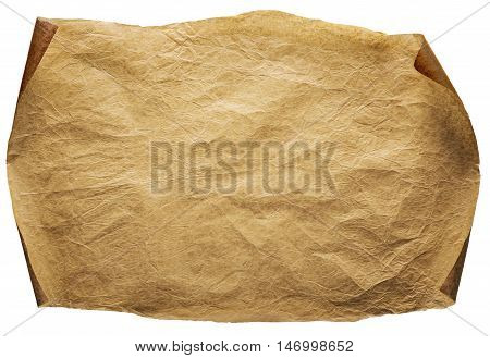 Old Paper Background Curled Brown Parchment Ancient Page Isolated over White