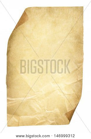 Old Paper Page Brown Crumpled Sheet Rough Ancient Texture and Curled Corners Isolated over White