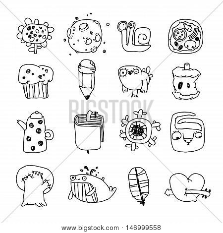 Vector Icons Set of Cartoon Objects and Characters. Isolated on White. Clipping paths included.
