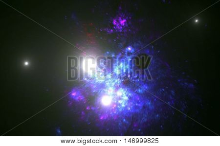 Blur zoom bright star cluster in outer space galaxy.