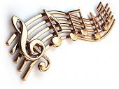 Golden music notes and treble clef on musical strings isolated on white. 3d illustration poster