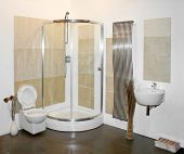 stock photo of lavabo  - Nice big shower in new bright bathroom - JPG