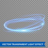 Vector neon light circle in motion. Glowing blue ring trace. Glitter magic sparkle swirl trail effec poster