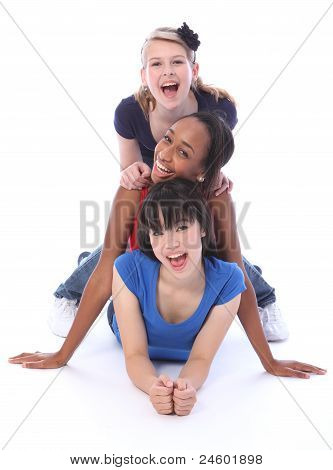 Happy Multi Ethnic Girl Friends Human Totem Pole