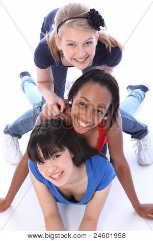 Three Mixed Race Girl Friends Having Fun Together