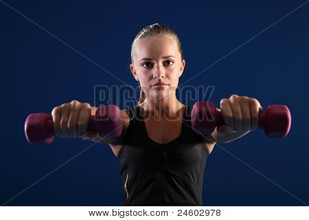 Beautiful Woman Strength Exercise With Weights